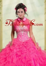 Beautiful Ruffles Organza Button Sleeveless Quinceanera Jacket in Hot Pink  ACCJA073FOR