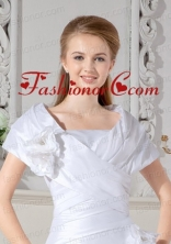 Beautiful White  Short Sleeves Wedding Jacket With Hand Made Flowers ACCJA018FOR