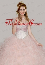Best Baby Pink Organza Open Front Quinceanera Jacket with Ruffles and Beading  ACCJA071FOR