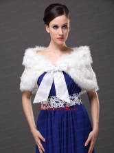 Bowknot V Neck Faux Fur Formal Occasions Wraps Shawls RR0915034FOR