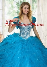 Brand New Blue Organza Quinceanera Jacket with Beading and Ruffles ACCJA111FOR