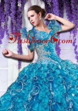 Brand new Organza Beading and Ruffles Quinceanera Jacket in Blue ACCJA103FOR