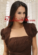 Brown Short Sleeves Quinceanera Jacket With Ruching ACCJA029FOR