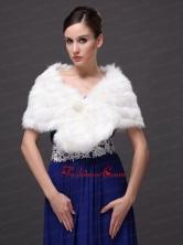 Button Gorgeous Faux Fur Trumpet Mermaid V neck Wraps Shawls RR0915029FOR
