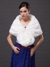 Button Gorgeous Faux Fur Trumpet Mermaid V neck Wraps  Shawls RR0915040FOR