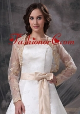 Champane Long Sleeves Jacket With Embroidery ACCJA047FOR
