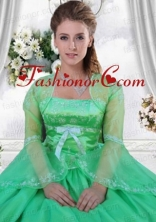Custom Made Embroidery and Beading Green Long Sleeves Jacket For Quinceanera  ACCJA115FOR
