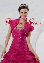 Custom Made Open Front Short Sleeves Fuchsia Quinceanera Jacket For 2014 ACCJA026FOR