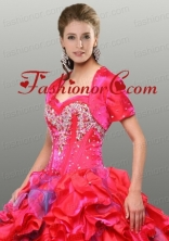 Discount Red Satin Special Occasion Quinceanera Jacket with Beading ACCJA033FOR