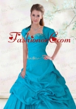 Elegant Beading Blue Taffeta Appliques Quinceanera Jacket ACCJA113FOR