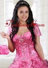Elegant Hot Pink Open Front Quinceanera Jacket  for Special Occasion ACCJA003FOR