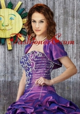 Elegant Purple Taffeta Quinceanera Jacket with Beading Open Front ACCJA079FOR