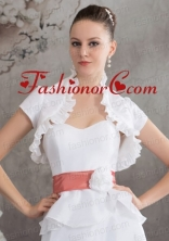 Elegant Short Sleeves Quinceanera Jacket in White ACCJA055FOR
