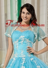 Elegant and Affordable Aqua Blue Quinceanera Jacket with Appliques For 2014  ACCJA130FOR