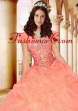 Excellent Peach Organza Quinceanera Jacket with Ruffles and Beading ACCJA087FOR