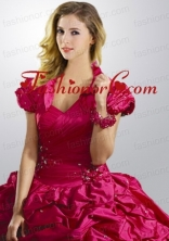Exclusive Taffeta Pick-ups and Beading Quinceanera Jacket in Fuchsia ACCJA118FOR