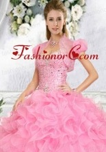 Exquisite Beading and Ruffles Quinceanera Jacket in Pink  ACCJA129FOR