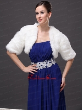 Exquisite Faux Fur V Neck Half Sleeves Wedding Party and Prom White Jacket RR0915047FOR