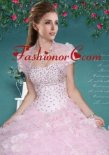 Fashionable Baby Pink Organza Quinceanera Jacket with Beading and Ruffles ACCJA098FOR
