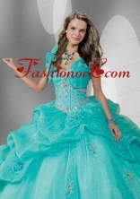 Fashionable Blue Organza Quinceanera Jacket with Beading  ACCJA078FOR