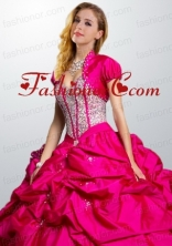 Fashionable Hot Pink Taffeta Special Occasion Quinceanera Jacket with Beading and Ruffles ACCJA121FOR