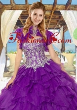 Fashionable Organza Quinceanera Jacket in Purple with Ruffles ACCJA036FOR