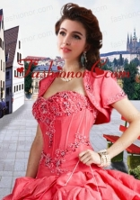 Fashionable Taffeta Appliques and Beading  Watermelon Red Jacket For a Quinceanera ACCJA095FOR