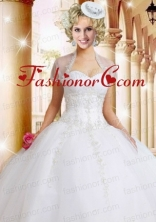 Fashionable White Organza Quinceanera Jacket with Appliques ACCJA081FOR