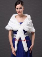 Faux Fur Elegant V Neck White Faux Fur Wedding Party Wedding Wrap RR0915053FOR