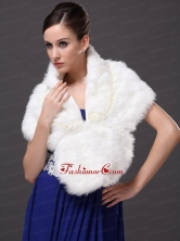Faux Fur Fashionable V Neck Wedding Party and Prom Shawls White RR0915043FOR