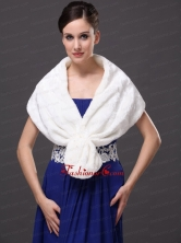 Faux Fur Fashionable V Neck White Wedding Party and Prom or Cocktail Wedding Wrap RR0915045FOR
