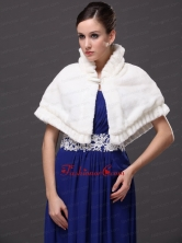 Faux Fur High Neck White Wedding Party Wrap For Winter RR0915048FOR