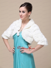 Faux Fur Special Occasion Wedding Jacket In Ivory With Half Sleeves RR0915012FOR