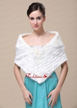 Faux Fur Special Occasion  Wedding Shawl With Hand Made Flower Front RR0915010FOR