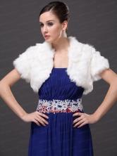 Faux Fur V Neck Fashionable Wedding Short Sleeves Prom Jacket White RR0915046FOR