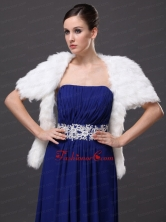 Faux Fur Wedding Affordable Short Sleeves Prom And Wedding Party Jacket White RR0915050FOR