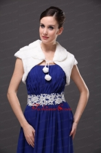 Faux Fur Wedding Affordable Short Sleeves V Neck Prom And Wedding Party Jacket White RR0915051FOR