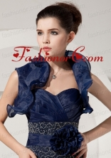 Fold Over Collar Sleeveless Jacket in Navy Blue ACCJA052FOR