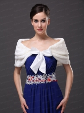 Genuine Bowknot Off Shoulder White Prom Wraps Shawls RR0915036FOR
