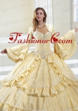 Gorgeous Light Yellow Long Sleeves Quinceanera Jacket With Ruffles and Beading  ACCJA046FOR