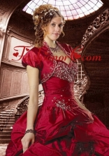 Gorgeous Wine Red Taffeta Quinceanera Jacket with Beading and Ruffles ACCJA082FOR