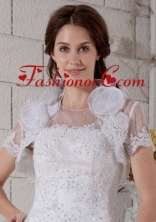 Hand Made Flowers Short Sleeves Jacket in Tulle ACCJA016FOR