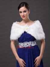 High Quality Faux Fur Special Occasion   Wedding Shawl  In Ivory With V neck RR09150 (30)FOR