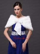 High Quality Rabbit Fur Special Occasion   Wedding Shawl  In Ivory With V neckRR09150 (28)FOR