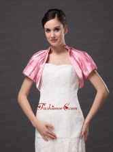 High-neck Satin Rose Pink Short Sleeves Jacket For Other Formal Occasions With Ruch Decorate AFEST189FOR