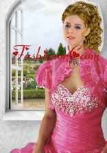 Inexpensive Red Organza Short Quinceanera Jacket with Ruffles ACCJA110FOR
