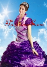 Lovely Fuchsia Organza Quinceanera Jacket with Ruffles ACCJA105FOR