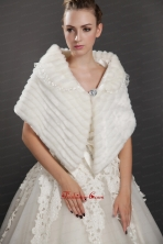 Luxurious Button Faux Fur Fold over Collar Wrap  Shawl UNION29T07FOR