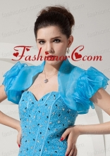 Modest Open Front and Ruffles Quinceanera Jacket in Baby Blue For 2014 ACCJA053FOR