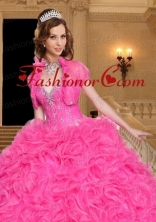 Most Popular Beading and Ruffles Hot Pink Quinceanera Jacket with Open Front ACCJA099FOR